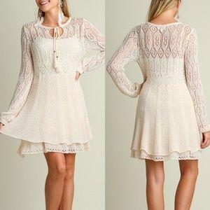 Umgee Dress Boho Tassel Keyhole Ivory Sweater 2XL